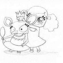 Coloriage d'Halloween : Coloriage d'une princesse chauve-souris