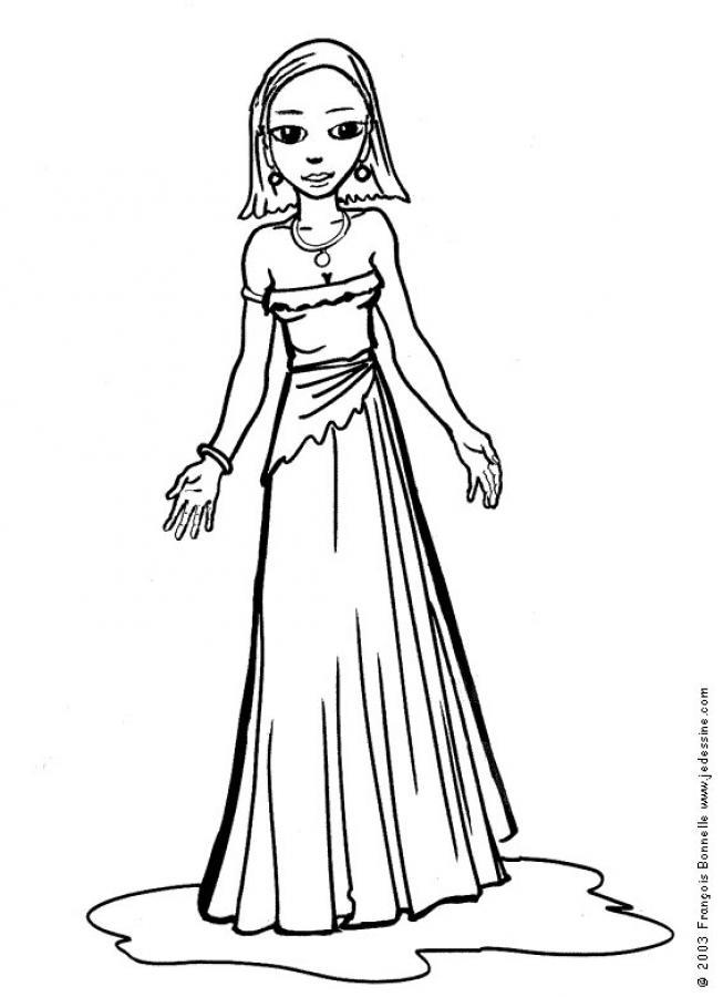 Coloriages coloriage d 39 une princesse - Coloriage d une fille ...