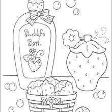 Coloriage de Charlotte aux fraises : Dans la salle de bain