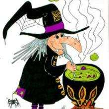 Dessin d'enfant : La sorcière et la potion magique