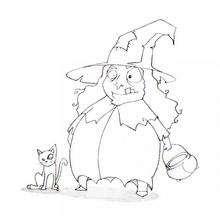 Coloriage d'Halloween : Coloriage de la sorcière et son chat