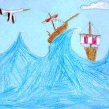 Dessin d'enfant : La tempête en mer