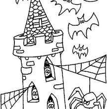 Coloriage de la tour des fantômes - Coloriage - Coloriage FETES - Coloriage HALLOWEEN - Coloriage FANTOME HALLOWEEN