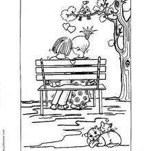 Coloriage de deux amoureux sur un banc