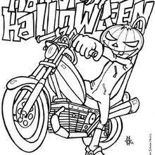 Jock O'Lantern sur une moto