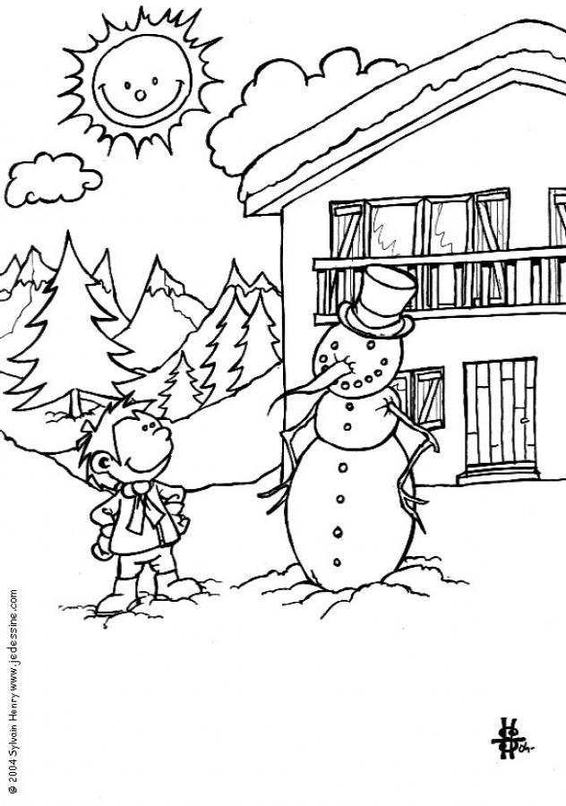 Coloriages un bonhomme de neige au soleil - Dessin 4 saisons ...