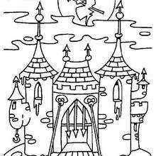 Coloriage d'un château au clair de lune - Coloriage - Coloriage FETES - Coloriage HALLOWEEN - Coloriage CHATEAU HALLOWEEN
