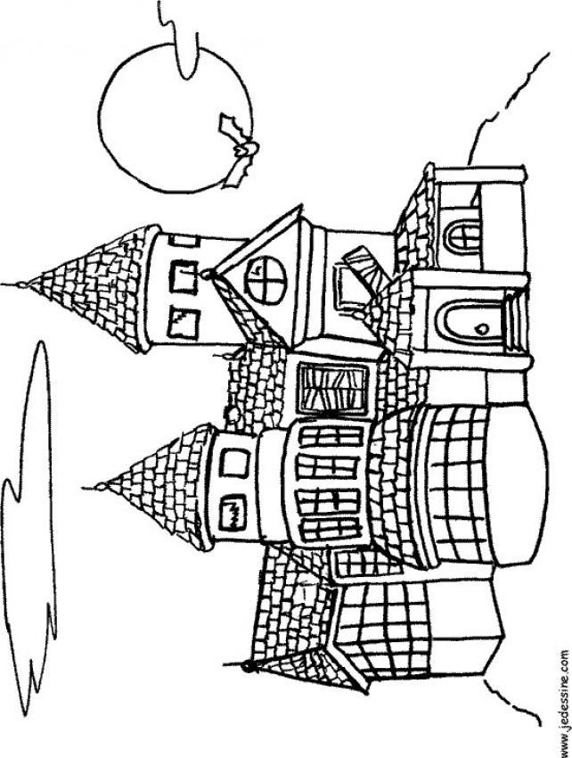 Coloriages coloriage d 39 un ch teau hant - Dessin d un chateau ...