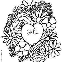Coloriage d'une déclaration de Saint-Valentin - Coloriage - Coloriage GRATUIT - Coloriage GRATUIT POUR DIRE JE T'AIME