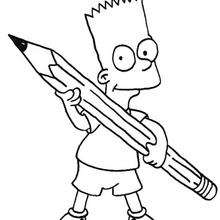 Coloriage du crayon de Bart - Coloriage - Coloriage DESSINS ANIMES - Coloriage SIMPSON - Coloriage BART SIMPSON