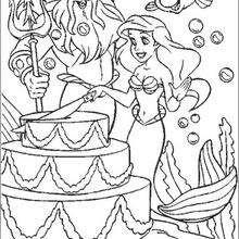 Coloriage Disney : Ariel et le gâteau
