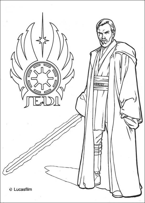 Coloriages coloriage star wars du jedi obi wan kenobi - Dessin stars wars ...