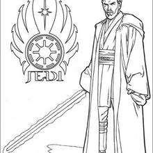 Coloriage STAR WARS du Jedi, Obi Wan Kenobi