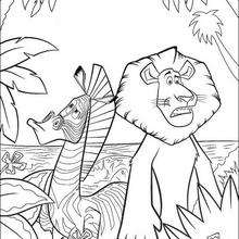 Coloriage Madagascar : Alex le lion et Marty le zèbre