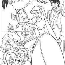 Coloriage Disney : Le mariage de la petite sirène