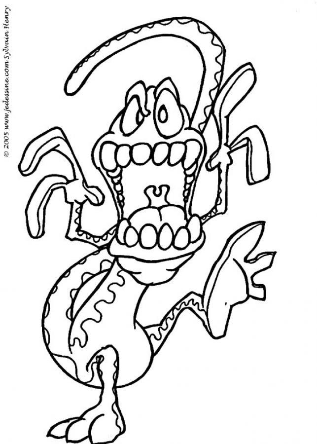 Coloriage d'un monstre-lézard