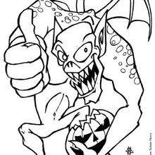 Coloriage d'Halloween : Coloriage d'un monstre d'Halloween