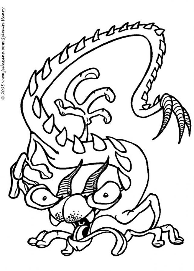 Populaire Coloriages coloriage d'un monstre dragon - fr.hellokids.com BO48