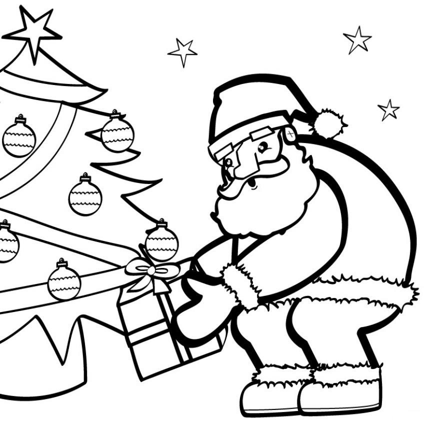 Coloriages coloriage du p re no l au pied du sapin fr - Dessins pere noel ...