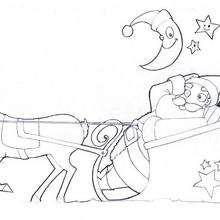 Coloriage du père-Noël en traineau
