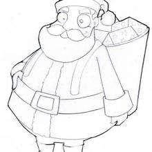 Coloriage du père-Noël et sa hotte - Coloriage - Coloriage FETES - Coloriage NOEL - Coloriage PERE NOEL - Coloriage HOTTE DU PERE NOEL