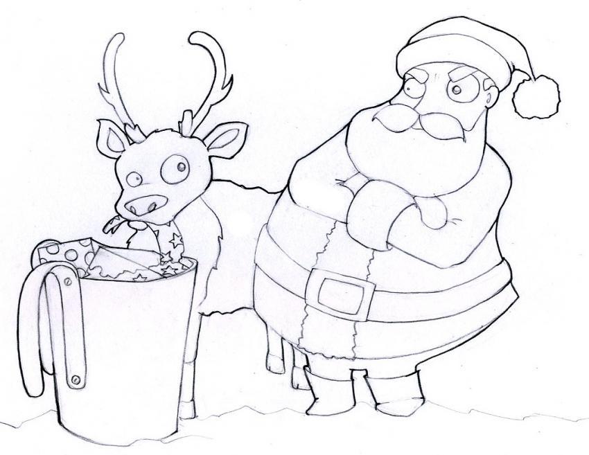 Coloriage du père-Noël fâché