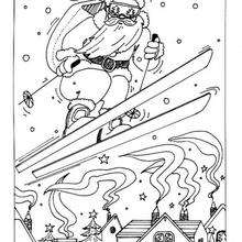 Coloriage du Père-Noël au ski - Coloriage - Coloriage FETES - Coloriage NOEL - Coloriage PERE NOEL - Coloriage PERE NOEL GRATUIT
