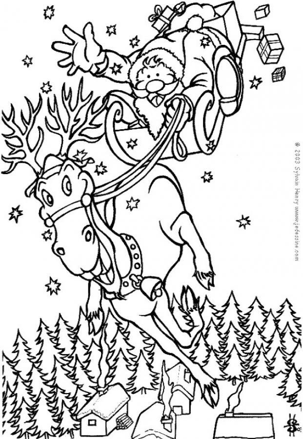 coloriage du pre nol sur son renne