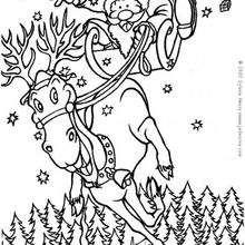 Coloriage du Père-Noël sur son renne