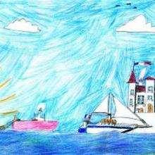 Dessin d'enfant : Le port