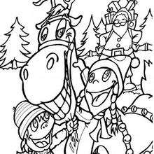 Coloriage d'un renne avec des enfants - Coloriage - Coloriage FETES - Coloriage NOEL - Coloriage RENNES DU PERE NOEL - Coloriage RENNES DU PERE NOEL GRATUIT