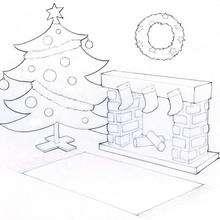 Coloriage du sapin de Noel et la cheminée