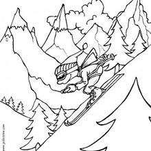 Coloriage d'un skieur sur les pistes
