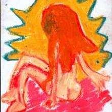 Dessin d'enfant : Jeune fille au soleil couchant
