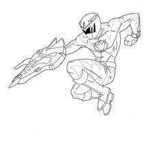 Coloriage du tir du ninja - Coloriage - Coloriage DESSINS ANIMES - Coloriage POWER RANGERS - Coloriage NINJA POWER RANGERS