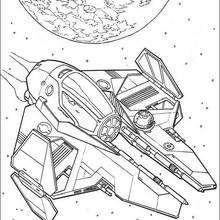 Coloriage STAR WARS du vaisseau d'anakin
