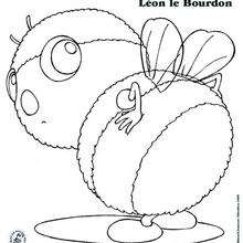 Coloriage Léon le Bourdon - Coloriage - Coloriage PERSONNAGE BD - Coloriage DROLES DE PETITES BETES