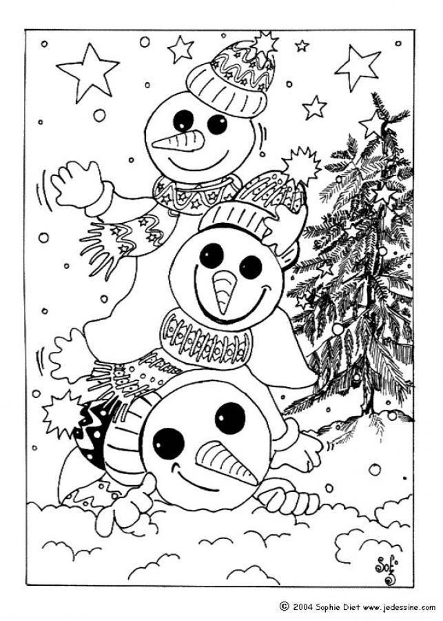 Coloriage de 3 bonhommes de neige