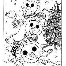 Coloriage de 3 bonhommes de neige - Coloriage - Coloriage FETES - Coloriage NOEL - Coloriage BONHOMME DE NEIGE - Coloriages BONHOMME DE NEIGE