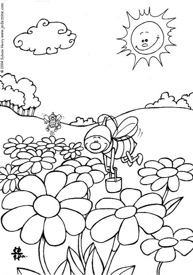 Coloriages coloriage d 39 abeilles qui butinent - Coloriage d abeille ...