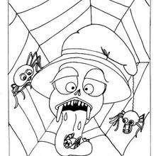 Coloriage d'Halloween : Coloriage d'araignées