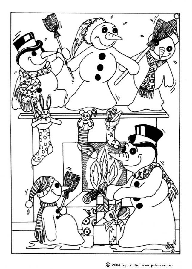 Coloriage de bonhommes de neige