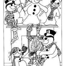 Coloriage de bonhommes de neige - Coloriage - Coloriage FETES - Coloriage NOEL - Coloriage BONHOMME DE NEIGE - Coloriage BONHOMME DE NEIGE GRATUIT