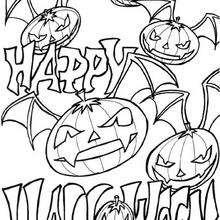 Coloriage d'Halloween : Coloriage de citrouilles volantes