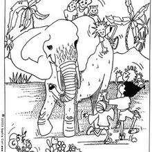 Coloriage d'enfants avec un éléphant