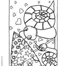 Coloriage de deux escargots