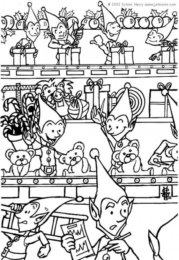 Coloriages coloriage des lutins au travail - Dessin de lutins ...