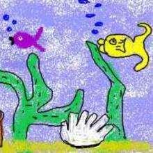 Dessin d'enfant : Les poissons contents