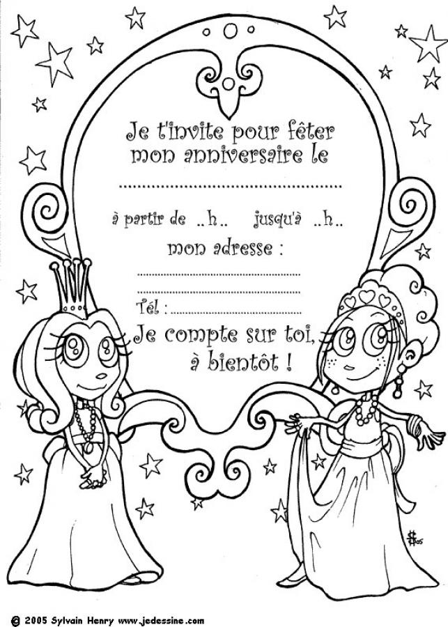 Fabuleux Coloriages invitation princesse - fr.hellokids.com SV18