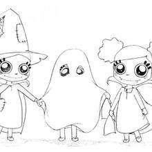 Coloriage d'Halloween : Coloriage des sorcières et du fantome